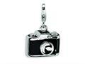 Amore LaVita™ Sterling Silver 3-D Enameled Swarovski Crystal Camera w/Lobster Clasp Bracelet Charm