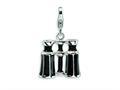 Amore LaVita™ Sterling Silver 3-D Enameled Swarovski Crystal Binoculars w/Lobster Clasp C for Charm Bracelet
