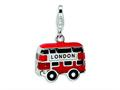 Amore LaVita™ Sterling Silver 3-D Enameled Double Decker London Bus w/Lobster Clasp Charm for Charm Bracelet