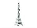 Amore LaVita™ Sterling Silver 3-D Enameled Swarovski Crystal Eiffel Tower w/Lobster Clasp for Charm Bracelet