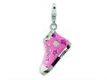 Amore LaVita™ Sterling Silver 3-D Enameled Pink High Top Sneaker w/Lobster Clasp Charm for Charm Bracelet