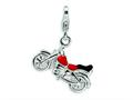Amore LaVita™ Sterling Silver 3-D Enameled Motorcycle w/Lobster Clasp Charm for Charm Bracelet