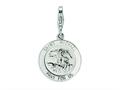 Amore LaVita™ Sterling Silver Saint Michael Medal w/Lobster Clasp Bracelet Charm