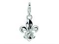 Amore LaVita™ Sterling Silver Polished Fluer De Lis w/Lobster Clasp Bracelet Charm
