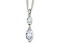 Cheryl M Sterling Silver Marquise CZ 17in w/2in ext Double Strand Necklace