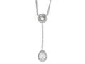 Cheryl M Sterling Silver Checker-cut CZ 17in w/2in ext Necklace
