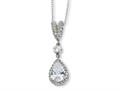 Cheryl M Sterling Silver Pear CZ 18in Necklace