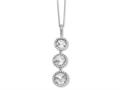 Cheryl M™ Sterling Silver Checker-cut CZ 3-stone 18in Necklace