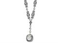 Cheryl M Sterling Silver Oval CZ Antiqued Y-drop 17in Necklace