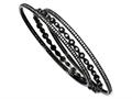 Cheryl M Black-plated Sterling Silver CZ Three Bangle Set