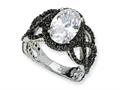 Cheryl M™ Black-plated Sterling Silver Fancy Oval Black/Wht CZ Ring