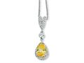 Cheryl M™ Sterling Silver Pear Canary and White CZ 18in Necklace