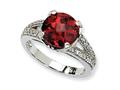 Cheryl M™ Sterling Silver Checker-cut Dark Red and White CZ Ring