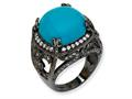 Cheryl M™ Black-plated Sterling Silver Simulated Turquoise and CZ Ring