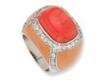 Cheryl M™ Sterling Silver Enameled Simulated Red Coral and CZ Ring