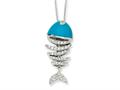 Cheryl M™ Sterling Silver Simulated Turquoise Enameled CZ Fish 18in Necklace