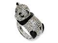 Cheryl M™ Sterling Silver Enameled CZ Panda Ring