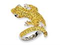 Cheryl M™ Sterling Silver CZ and Sim. Emerald Lizard Ring