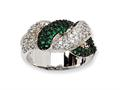 Cheryl M™ Sterling Silver CZ and Simulated Emerald Twin Snakes Ring