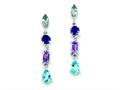 Sterling Silver Amethyst, Blue Topaz and Iolite Dangle Earrings