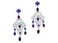 Sterling Silver Rhodolite Garnet and Amethyst Dangle Earrings