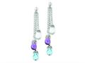 Sterling Silver Amethyst And Blue and White Topaz Dangle Earrings