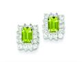 Sterling Silver Peridot and Cubic Zirconia Earrings