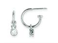 Sterling Silver Cubic Zirconia Dangle Hoop Earrings