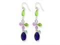 Sterling Silver Amethyst/lavender Quartz/peridot/blue Topaz Earrings