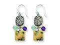 Sterling Silver Antiqued Amethyst/green Agate/jasper Earrings