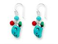 Sterling Silver Dyed Howlite/turquoise/red Coral Earrings