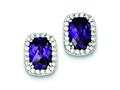 Sterling Silver Purple And Clear Cubic Zirconia Earrings