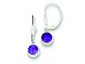 Sterling Silver Amethyst Leverback Earrings