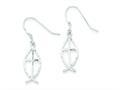 Sterling Silver Bright Cut Cross W/fish Earrings