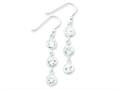 Sterling Silver Round Clear Cubic Zirconia Dangle Earrings