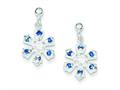 Sterling Silver Cubic Zirconia and Blue Stone Earrings