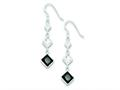 Sterling Silver Clear And Black Cubic Zirconia Dangle Earrings