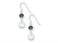 Sterling Silver Black and Clear Cubic Zirconia Dangle Earrings