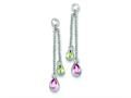 Sterling Silver Multicolor Cubic Zirconia Dangle Post Earrings