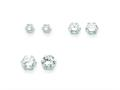 Sterling Silver 3 Pair Set Cubic Zirconia Earrings