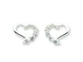 Sterling Silver Cubic Zirconia Heart Journey Earrings