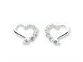 Sterling Silver Cubic Zirconia Heart Journey Earrings