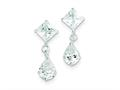 Sterling Silver Clear Cubic Zirconia Dangle Earrings