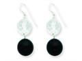 Sterling Silver 11mm Faceted Clear Crystal and 14mm Onyx Bead Earrings