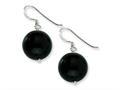 Sterling Silver 14mm Black Agate Earrings