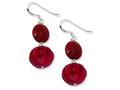 Sterling Silver Red Pumpkin Coral and Red Reconstructed Stone Earrings
