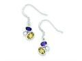Sterling Silver Citrine and Amethyst Polished Fancy Dangle Earrings