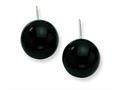Sterling Silver 12-12.5mm Black Agate Earrings