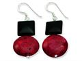 Sterling Silver Black Agate and Red Coral Earrings