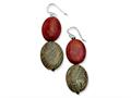 Sterling Silver Red Coral and Red Zebra Jasper Dangle Earrings